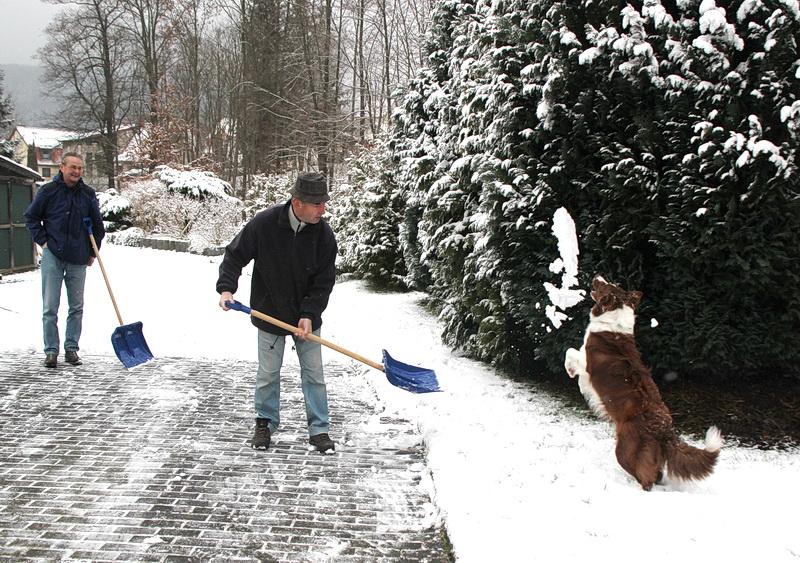 Der geschenkte 29. Februar überrascht uns mit Schnee. Am meisten freut sich Manne.