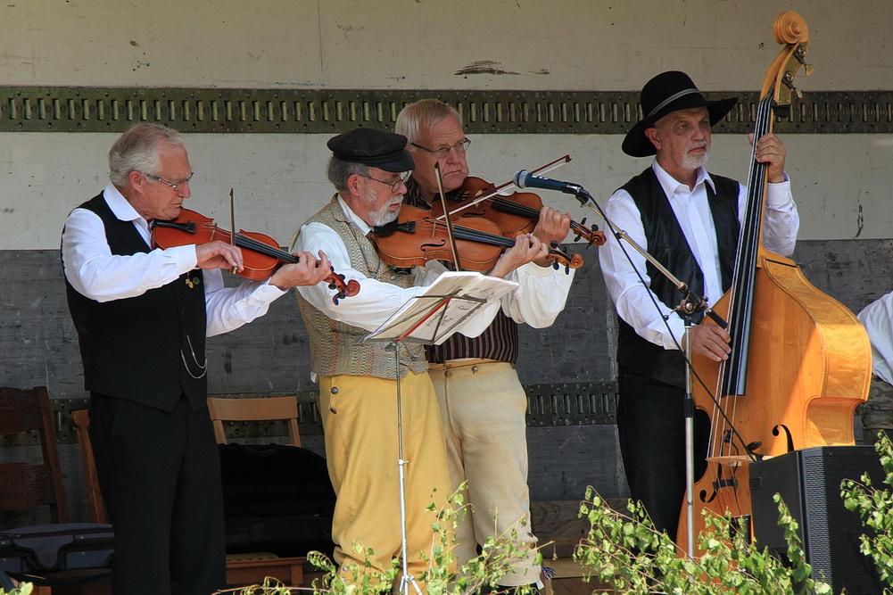 Diese Musiker begleiten die Volkstanzgruppe.