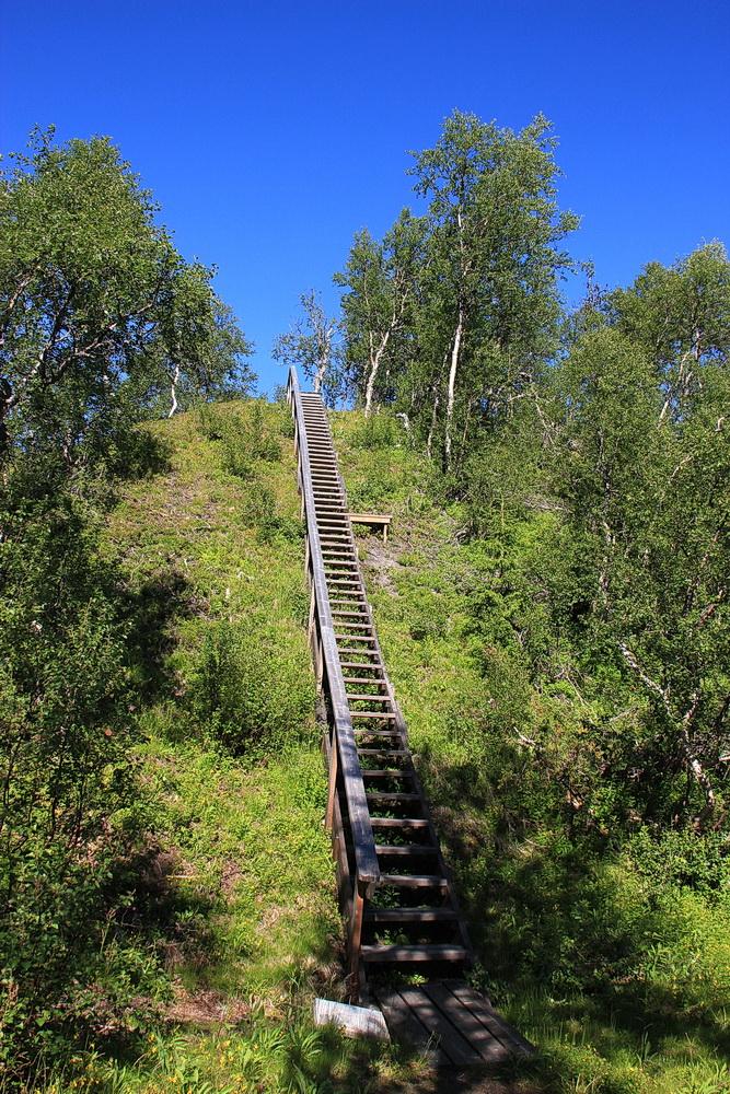 800 Stufen geht es die steilen Abhänge hoch und runter - das schlaucht ganz schön! Insgesamt sind es 12,7 km bergauf und bergab - aber schön!