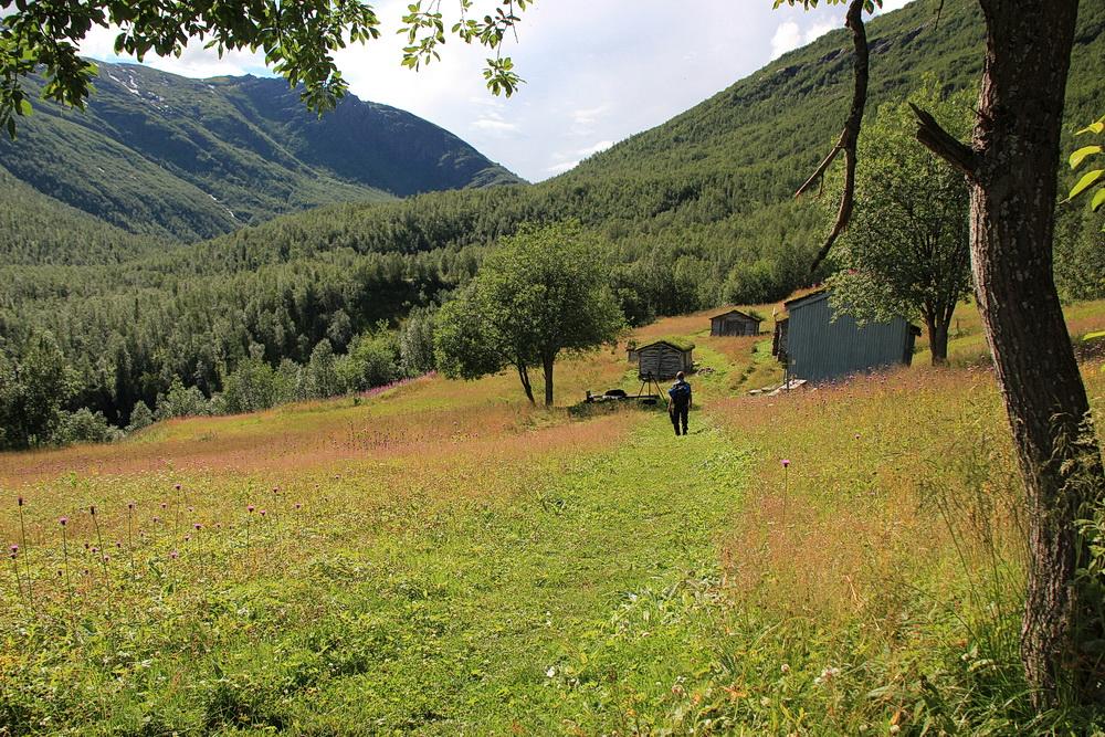 Bergbauernhof Bredek, unser eigentliches Ziel. Die Häuser sind bewohnbar, es sind Unterkünfte für Wanderer und Angler.