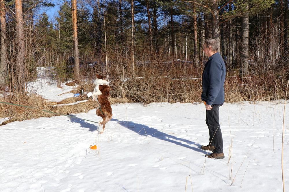Sportliche Einlage für Manne - Schneefangen!